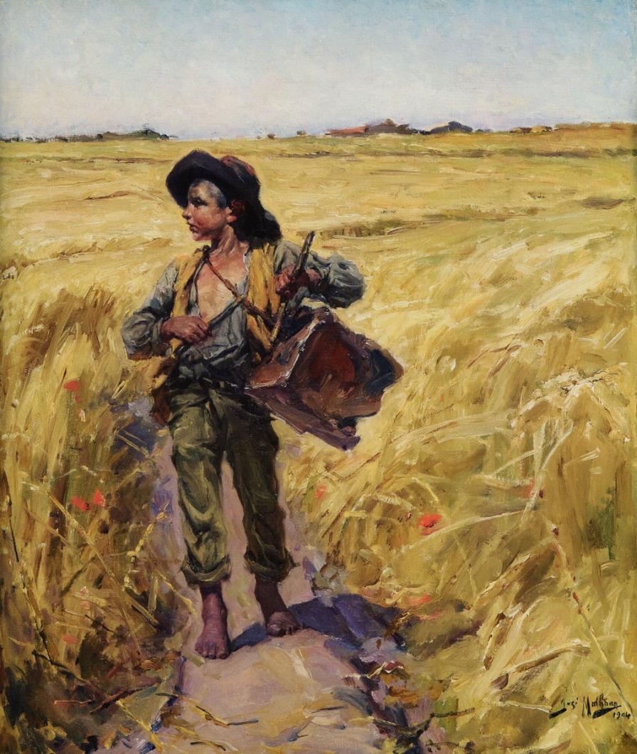 Espantando os pardais da seara, 1904, Oil on canvas, 53x44 cm