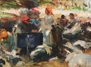 Lavandeiras or Lavadouro da Mata, 1922, Oil on canvas, 15x21 cm