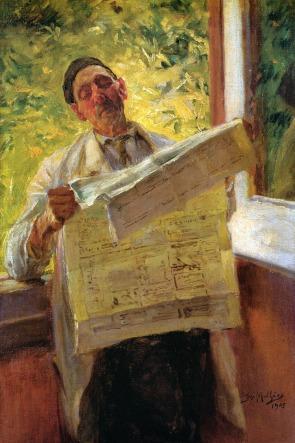 Lendo o jornal, 1905, Oil on canvas, 32.7x21.2 cm